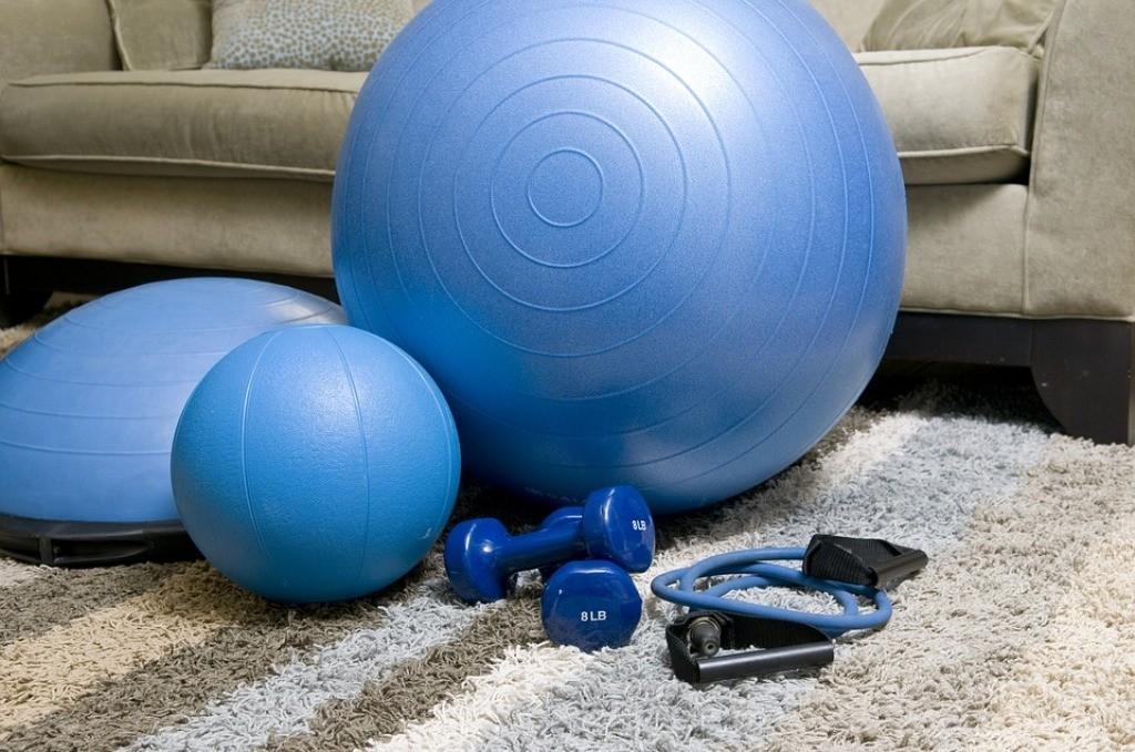 palla, pesi attrezzi fitness blu