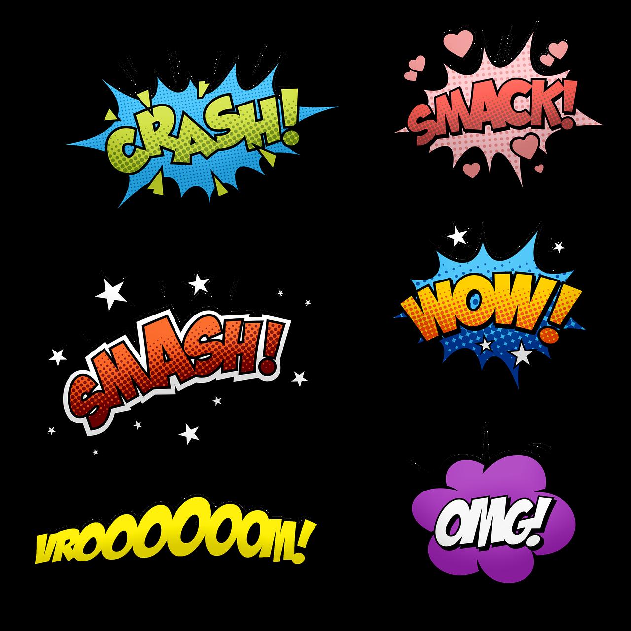 grafica con scritte di esclamazioni di fumetti