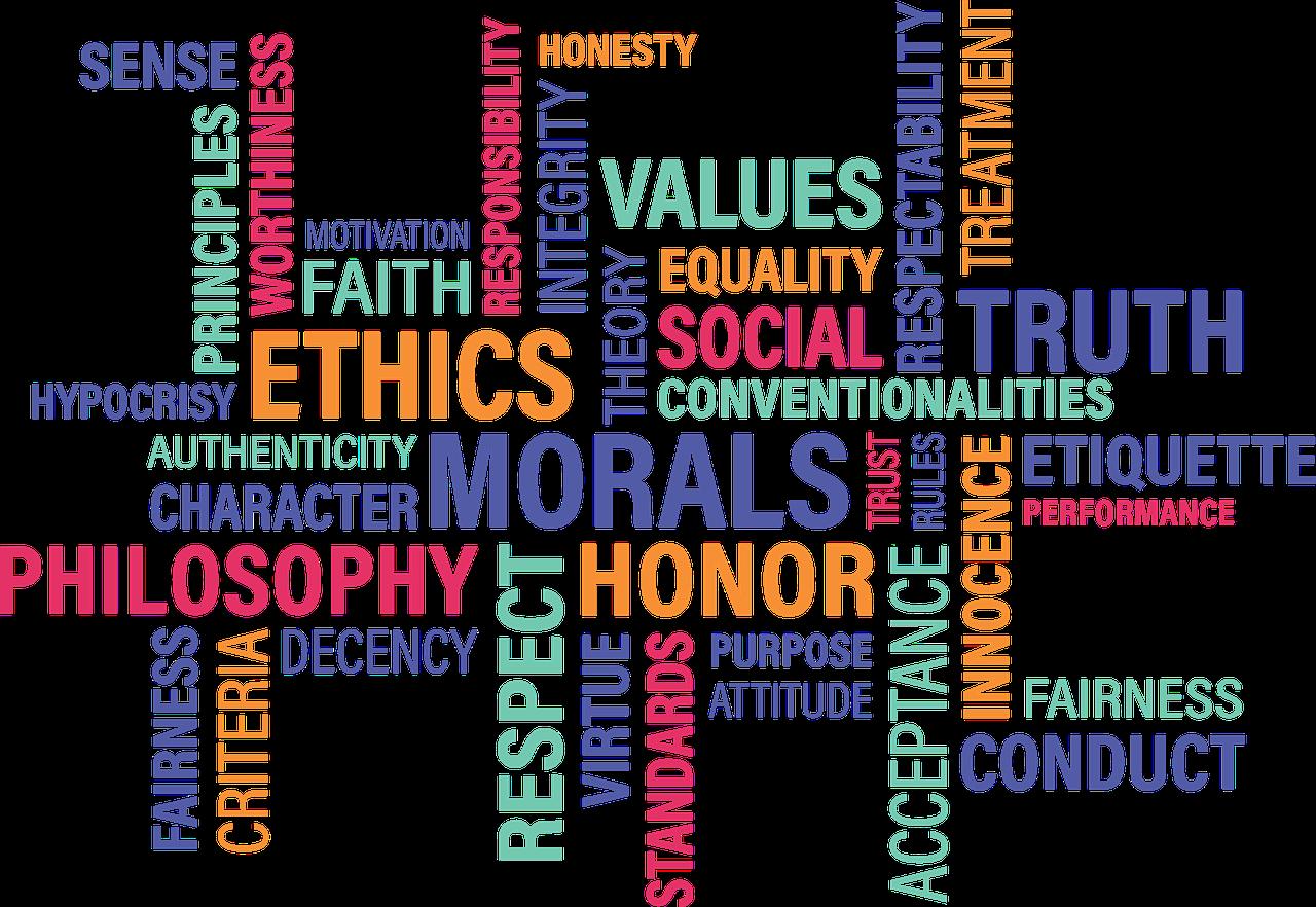 scritte colorate con parole inglesi sul tema etica