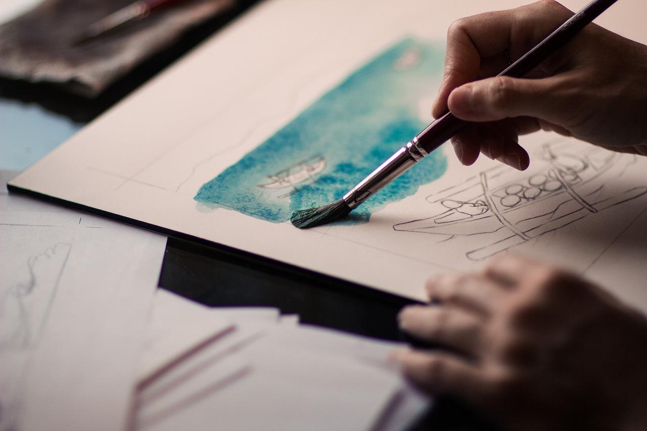 disegno di mare con acquerelli