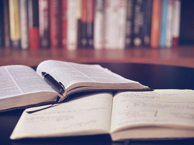 libri, quaderno, penna, biblioteca