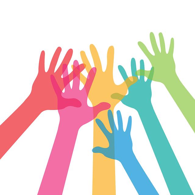 grafica con mani colorate