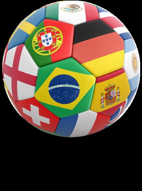 pallone con bandiere del mondo